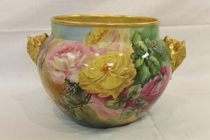 J. Pouyat Limoges rose decorated jardiniere with gold