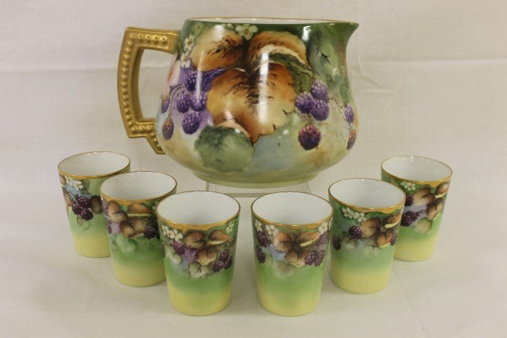 "Vignaud Limoges 6 1/4"" cider pitcher with (6) Germany"