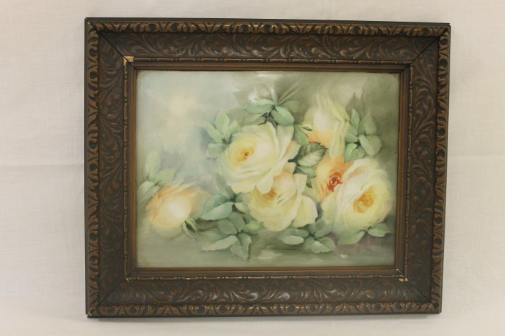 T&V Limoges Farnce plaque with yellow roses.  Plaque is