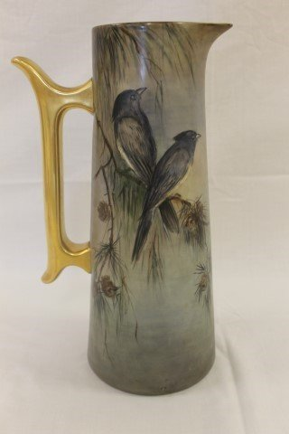 "T&V Limoges 14 5/8"" tankard decorated with birds"