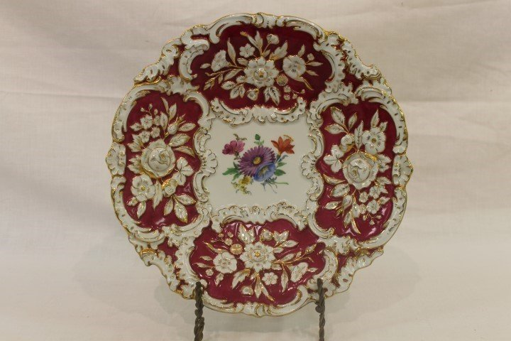 "Meissen 12 3/16"" charger with gold decoration, molded"