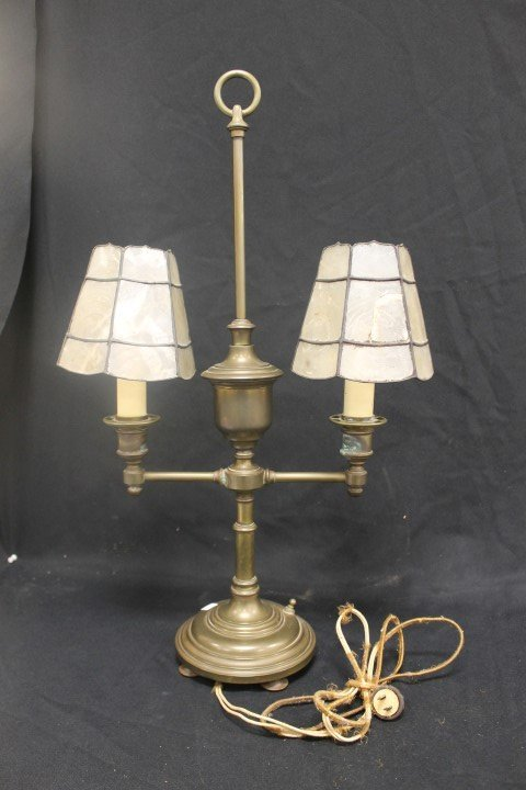Double arm brass lamp with leaded shades with
