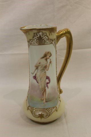 """11 1/2"""" B&H Limoge tankard with portrait of a scantily"""