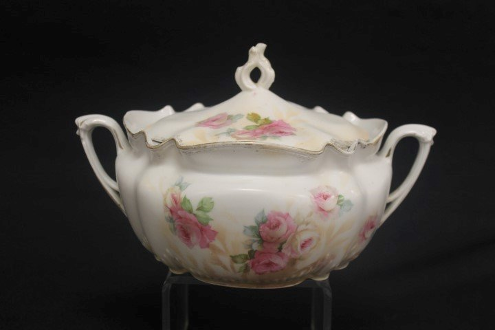Red mark R.S. Prussia satin finishe rose decorated