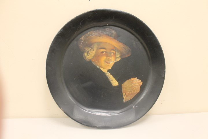 """19 1/8"""" painted metal tray with a gentleman in  a hat"""