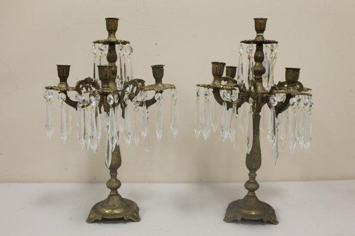"Pair of 16 1/2"" brass 4-arm candelabra with center"