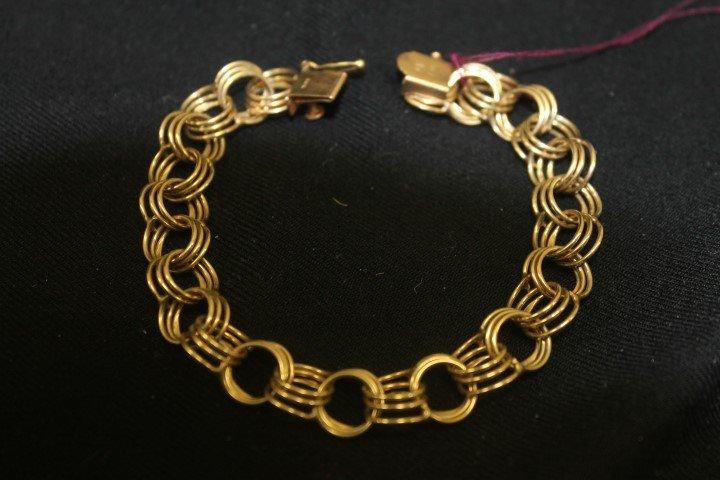 Ladies 14k yellow gold triple link gold charm bracelet,
