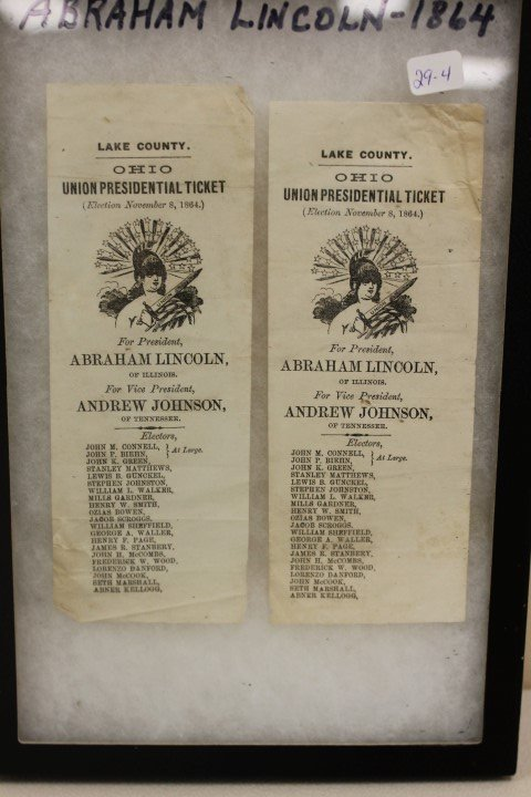 (2) Lake County, OHIO Union Presidential Tickets for