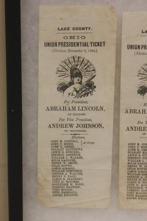 (2) Lake County, OHIO Union Presidential Tickets for - 2