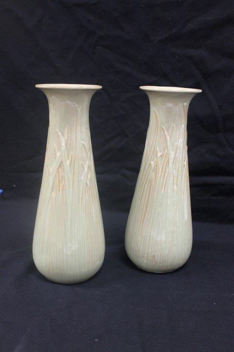 """Pair of 10 7/8"""" green over brown Selden Bybee vases"""