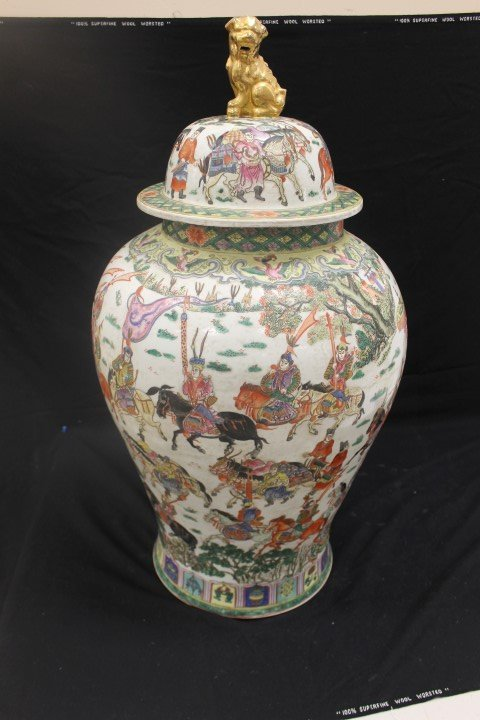 """32"""" Chinese covered palace urn with Ming Dynasty Wanli"""