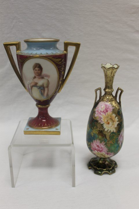 """2 pcs. Royal Vienna:  Beehive marked 6"""" bolted urn with"""