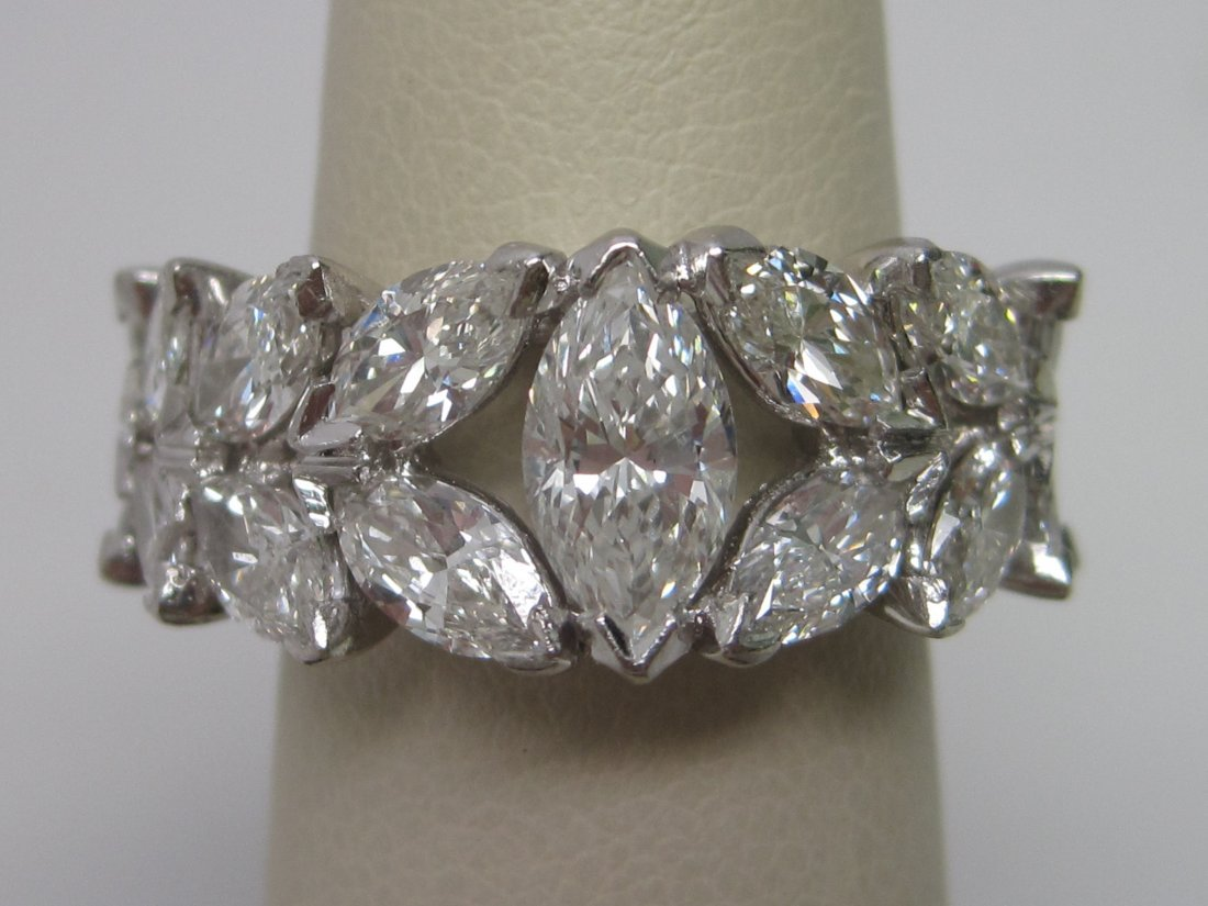 Platinum marquise cut diamond Eternity band of app.