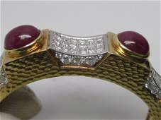 18k yellow gold hinged ladies ruby and diamond bangle