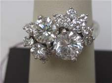 14k white gold ladies diamond free form cluster dinner