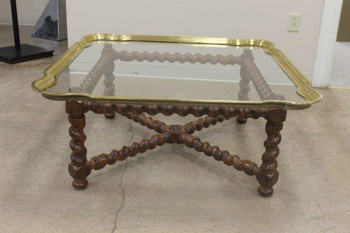 Oak barley twist coffee table with heavy beveled glass