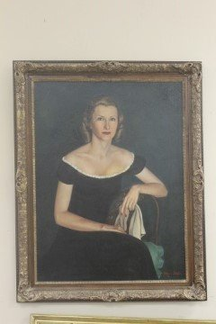 Oil on canvas protrait of Marylou Whitney.  Reported