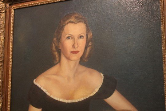 Oil on canvas protrait of Marylou Whitney.  Reported - 3