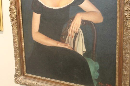 Oil on canvas protrait of Marylou Whitney.  Reported - 4