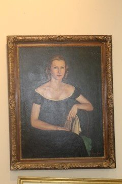 Oil on canvas protrait of Marylou Whitney.  Reported - 5