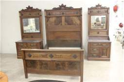 Walnut marble top 3 pc. Carved back bedroom suite with