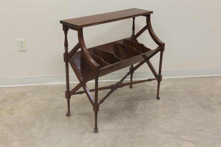 Mahogany magazine rack with four dividers and turned