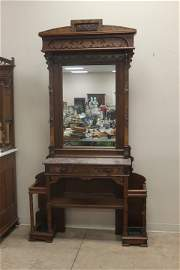 Ornate Victorian walnut marble top hall tree with