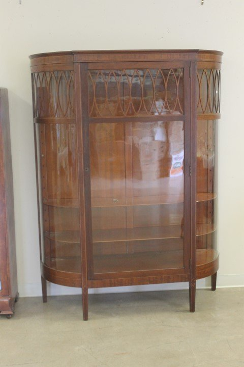 Inlaid mahogany china cabinet with curved glass sides