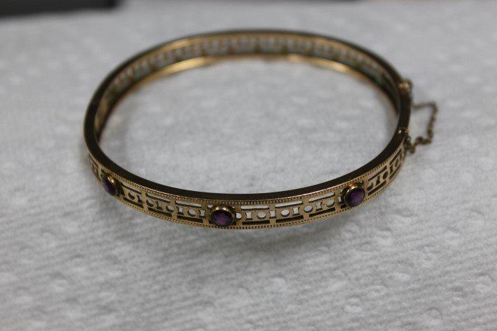 Fold filled hard bangle bracelet with 3 round faceted