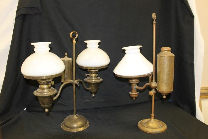 Brass student lamps, single marked German Student Lamp