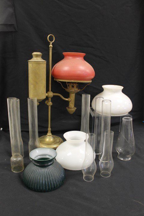 """Student lamp with red cased shade, app. 21""""tall; green"""
