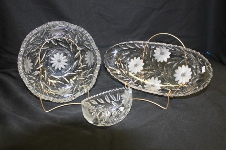 "Cut glass:  5 1/2"" oval bowl; 12 3/4"" relish; 9"" deep"