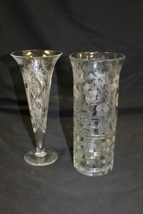"""Cut glass:  10"""" cut and etched trumpet vase with inner"""