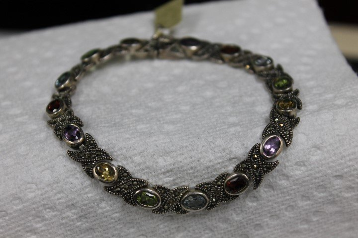 """Sterling silver 8"""" rainbow birthstone and marcasite"""