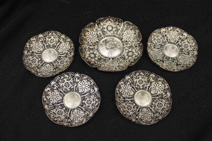 (5) unmarked silver filigree Chinese plates.  Largest