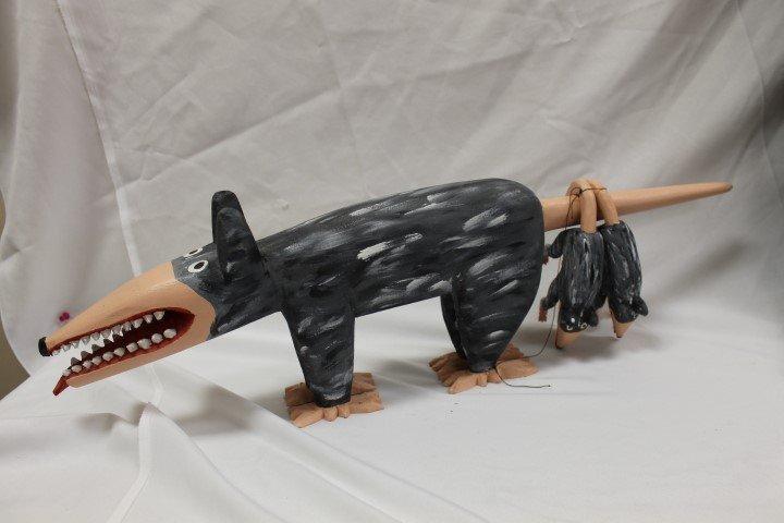 Minnie and Greg Adkins folk art possum and young,