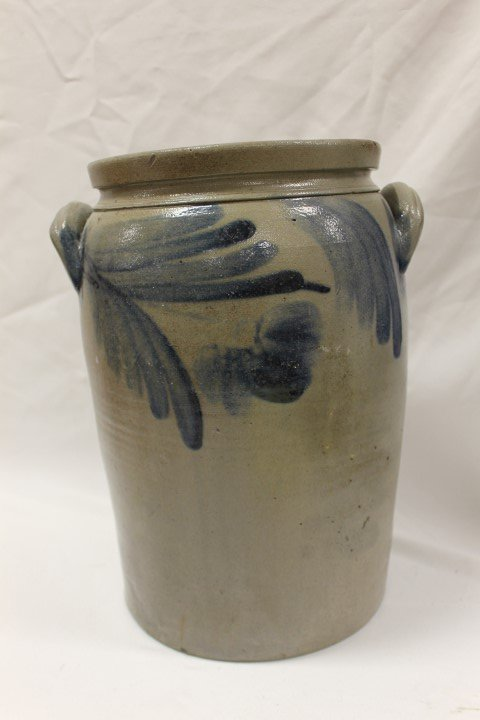 Fine 4 gallon cobalt decorated 2-handle stone jar with