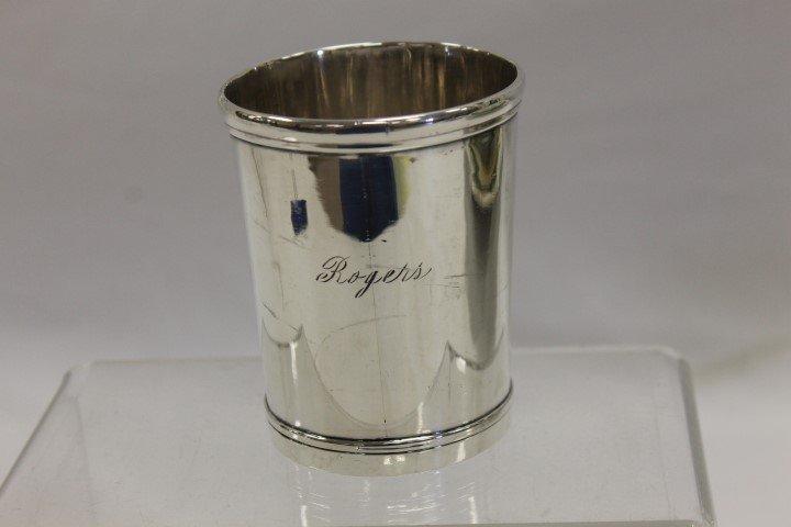 "T.K. Marsh Paris, KY coin silver beaker, app. 3 5/8"""