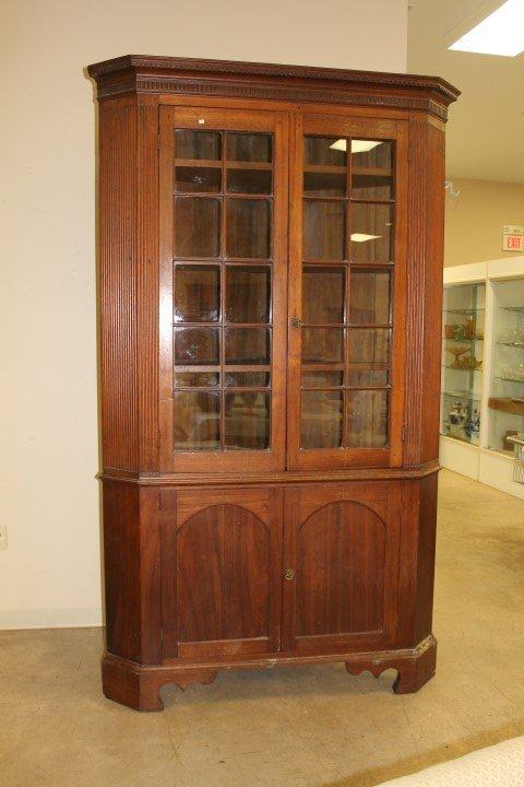 Fine Kentucky cherry 20-pane corner cupboard with