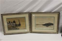 James H. Millspaugh etching of a lake scene, signed