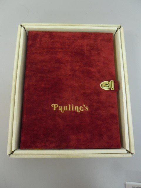 Pauline's red velvet book with original key and box.