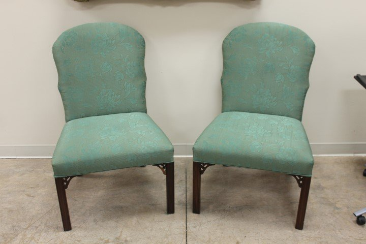 Pair of English Chinese Chippendale chairs in green