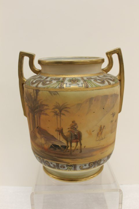 "Nippon green M with wreath 8"" vase with man on camel"