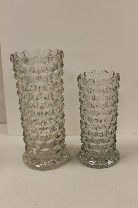 "Fostoria American 8"" and 10"" straight sided vases,"