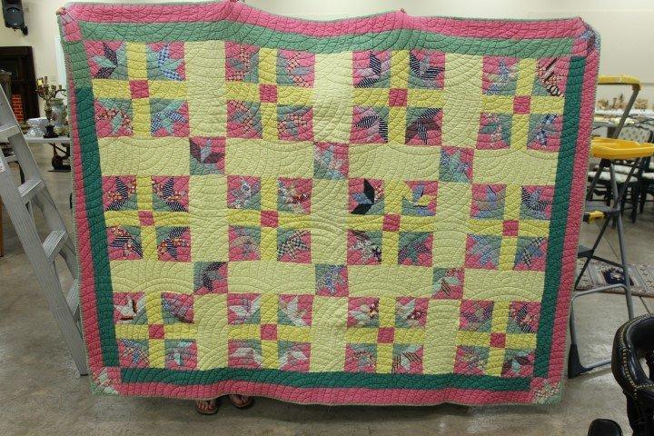 Fan and cross block quilt, minor edge wear, green back,