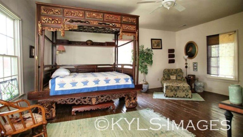 """Chinese opium bed, with stool, 98"""" tall, 105"""" long, 69"""""""