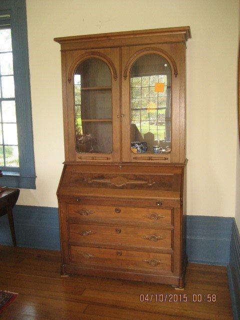 """Walnut secretary bookcase, 84"""" tall, 43"""" wide, 20"""" deep"""