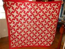 """Red and white quilt, some staining and fading, 81"""" X"""