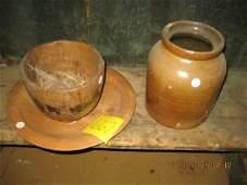 Wooden plate crock jar 9 wooden pedestal