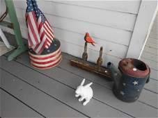"""Grouping: 7"""" cast iron rabbit, wooden bird Folk Art"""